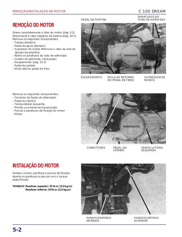 REMOÇÃO/INSTALAÇÃO DO MOTOR 5-2 REMOÇÃO DO MOTOR Drene completamente o óleo do motor (pág. 2-2). Desconecte o cabo negativ...