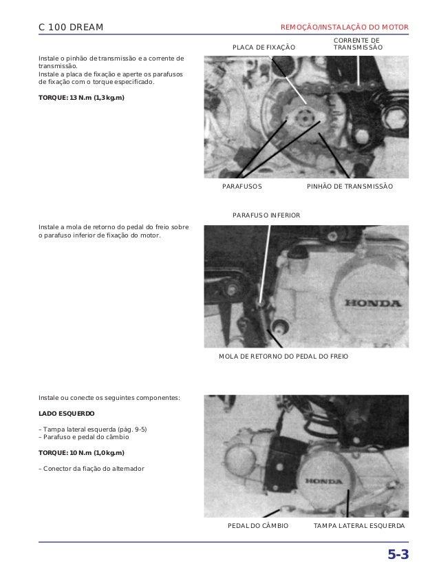 REMOÇÃO/INSTALAÇÃO DO MOTOR 5-3 C 100 DREAM Instale o pinhão de transmissão e a corrente de transmissão. Instale a placa d...