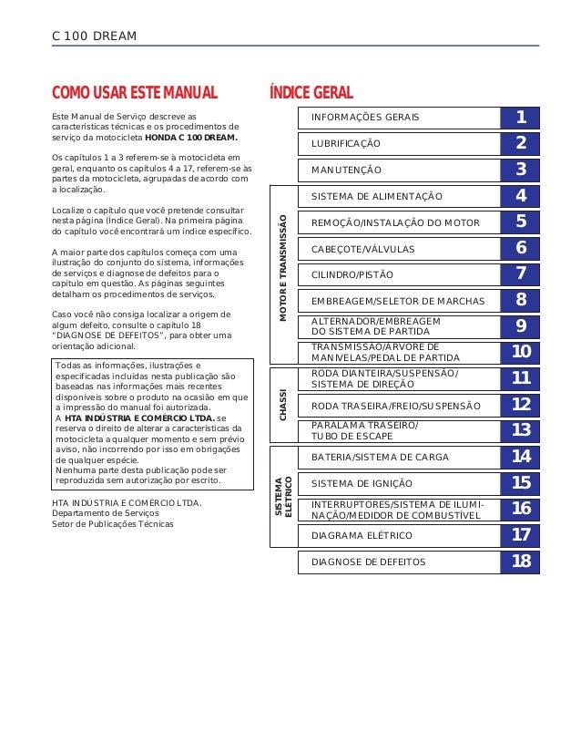 COMO USAR ESTE MANUAL Este Manual de Serviço descreve as características técnicas e os procedimentos de serviço da motocic...