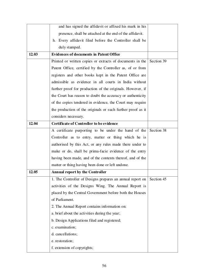 Manual designs patent practice and procedure in India