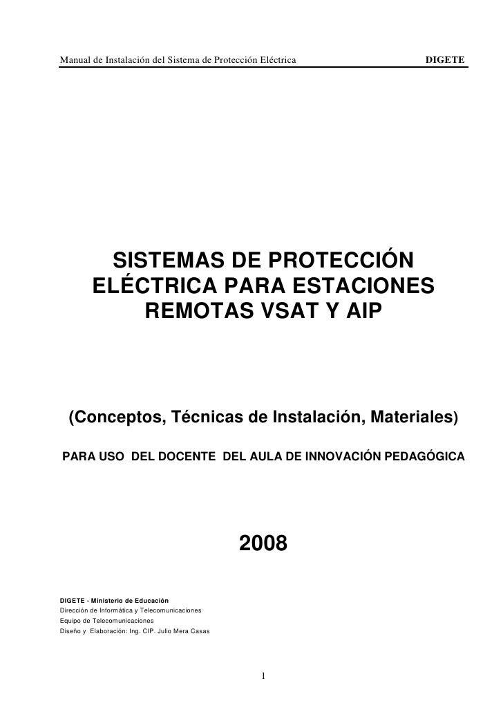 Manual de Instalación del Sistema de Protección Eléctrica   DIGETE                SISTEMAS DE PROTECCIÓN           ELÉCTRI...