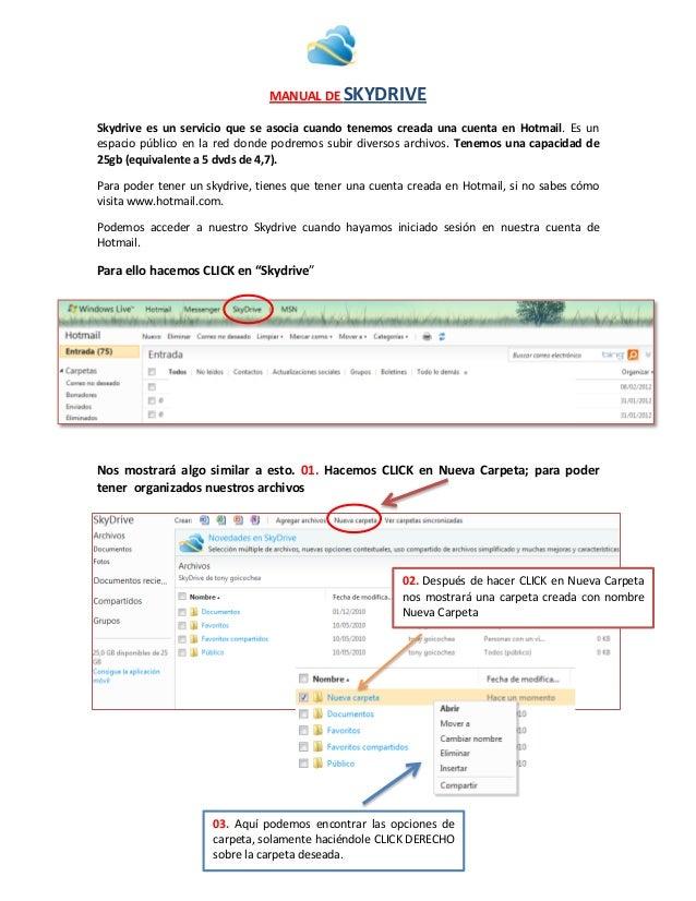 MANUAL DE SKYDRIVE Skydrive es un servicio que se asocia cuando tenemos creada una cuenta en Hotmail. Es un espacio públic...