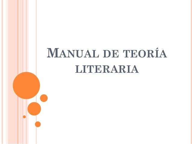 MANUAL DE TEORÍA   LITERARIA