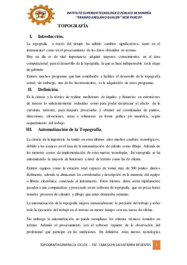 """INSTITUTO SUPERIOR TECNOLOGICO PÚBLICO DE MINERÍA """"ERASMO ARELLANO GUILLEN"""" SEDE PARCOY TOPOGRAFÍA GENERAL(II-CICLO) -- TE..."""