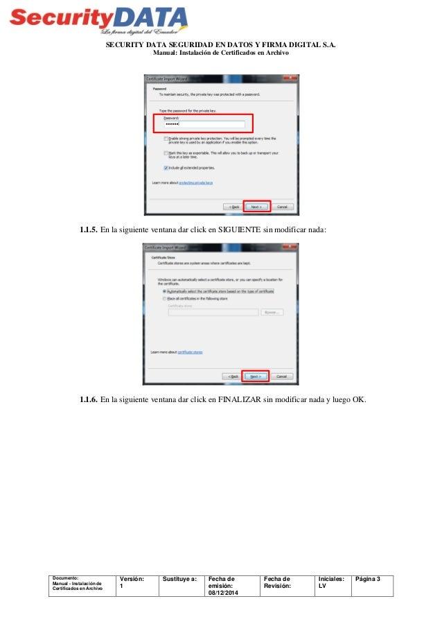 Manual de usuario: Instalación de certificados en archivo