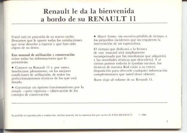 Manual de Usuario Renault 9/11 (1985) Slide 2