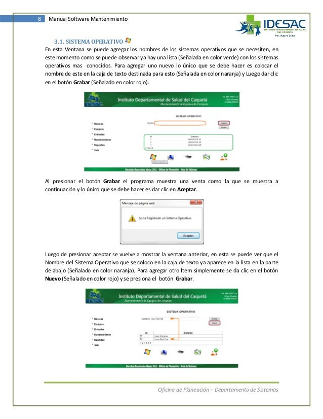 Crear manual de usuario para software.
