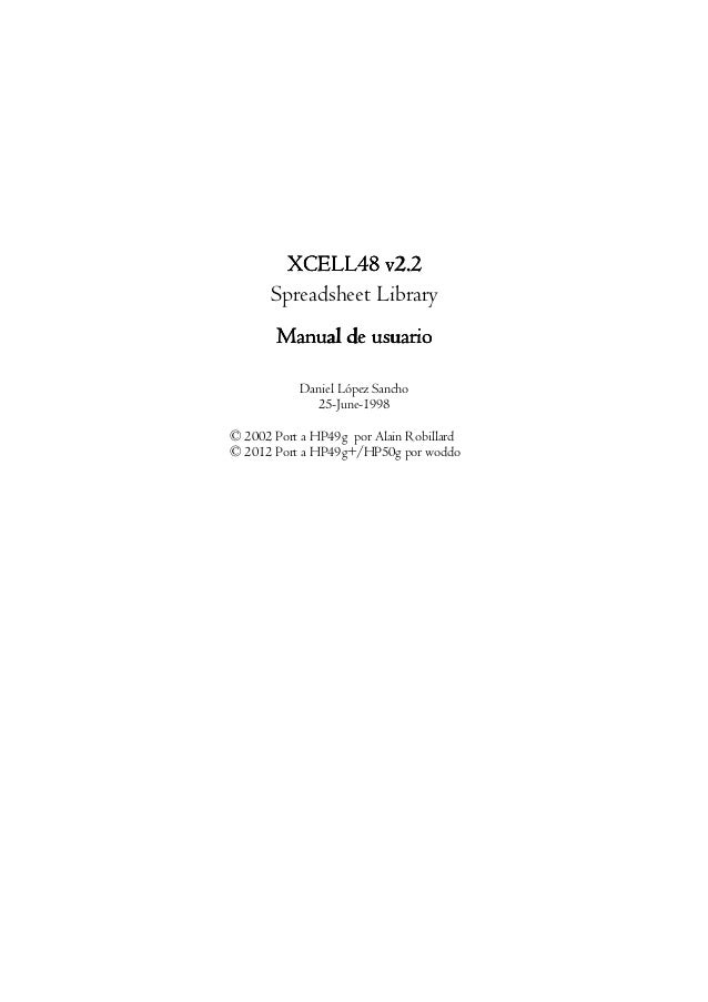 XCELLXCELLXCELLXCELL48484848 v2.2v2.2v2.2v2.2 Spreadsheet Library Manual de usuarioManual de usuarioManual de usuarioManua...