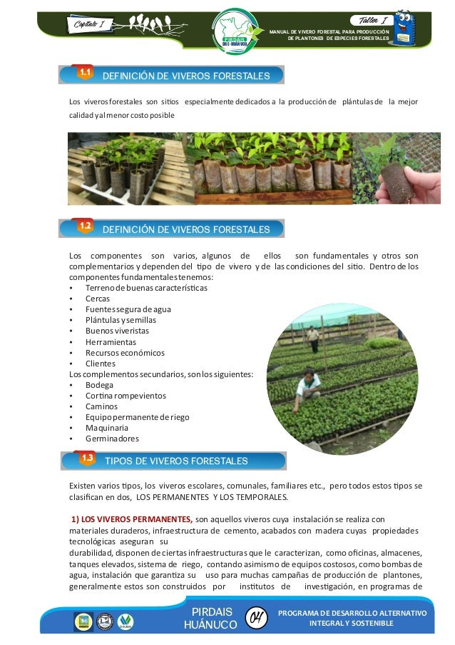 Manual de vivero forestal para producci n for Proyecto productivo de vivero forestal