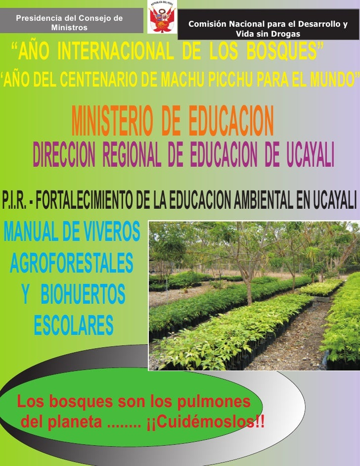 Manual de viveros biohuertos for Materiales para un vivero forestal