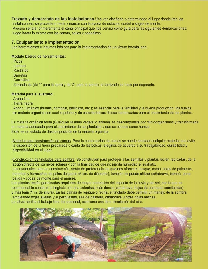 Manual de viveros biohuertos for Insumos para viveros