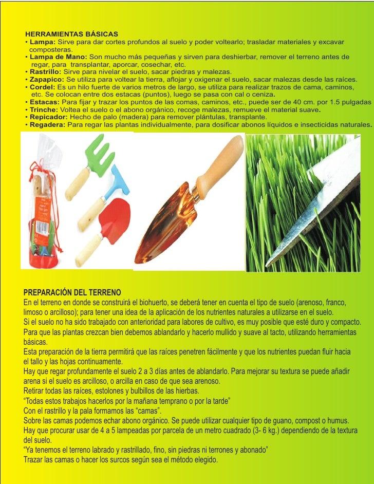 Manual de viveros biohuertos for Herramientas de un vivero