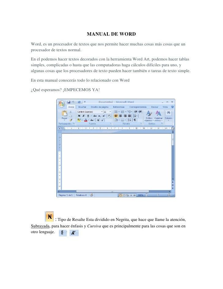 MANUAL DE WORD <br />Word, es un procesador de textos que nos permite hacer muchas cosas más cosas que un procesador de te...