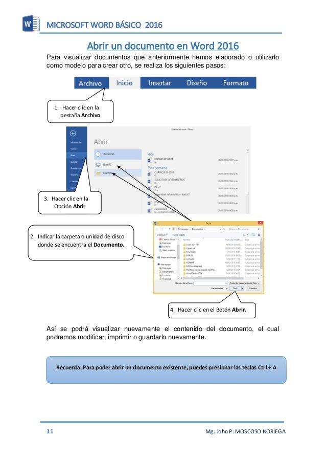 MICROSOFT WORD BÁSICO 2016 13 Mg. John P. MOSCOSO NORIEGA  Pasos para configurar Tamaño de Página 1. Hacer clic en Pestañ...