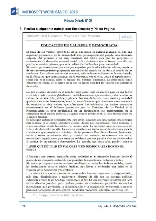 MICROSOFT WORD BÁSICO 2016 30 Mg. John P. MOSCOSO NORIEGA Letra Capital La letra capital es una letra que resalta al inici...