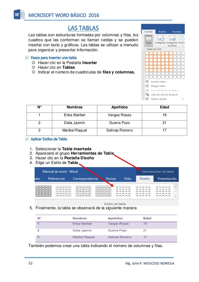 MICROSOFT WORD BÁSICO 2016 34 Mg. John P. MOSCOSO NORIEGA  Ejercicios Con la ayuda de tu profesor realizar las siguientes...