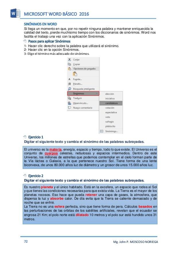 MICROSOFT WORD BÁSICO 2016 74 Mg. John P. MOSCOSO NORIEGA  Ejercicio 1 Realiza la captura de la ventana del usuario de tu...