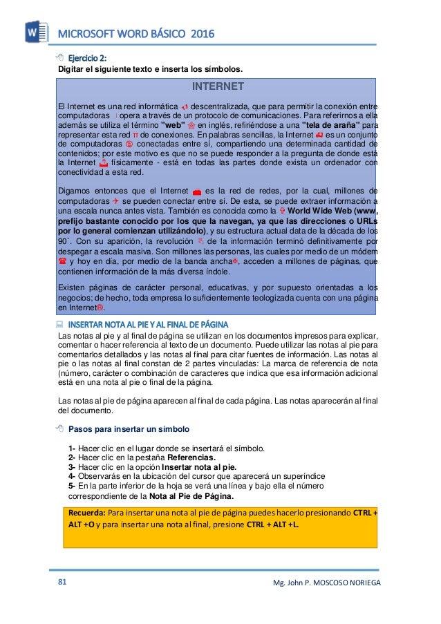 MICROSOFT WORD BÁSICO 2016 83 Mg. John P. MOSCOSO NORIEGA PORTADAS Ahora en Word se tienen nuevas herramientas tales como ...