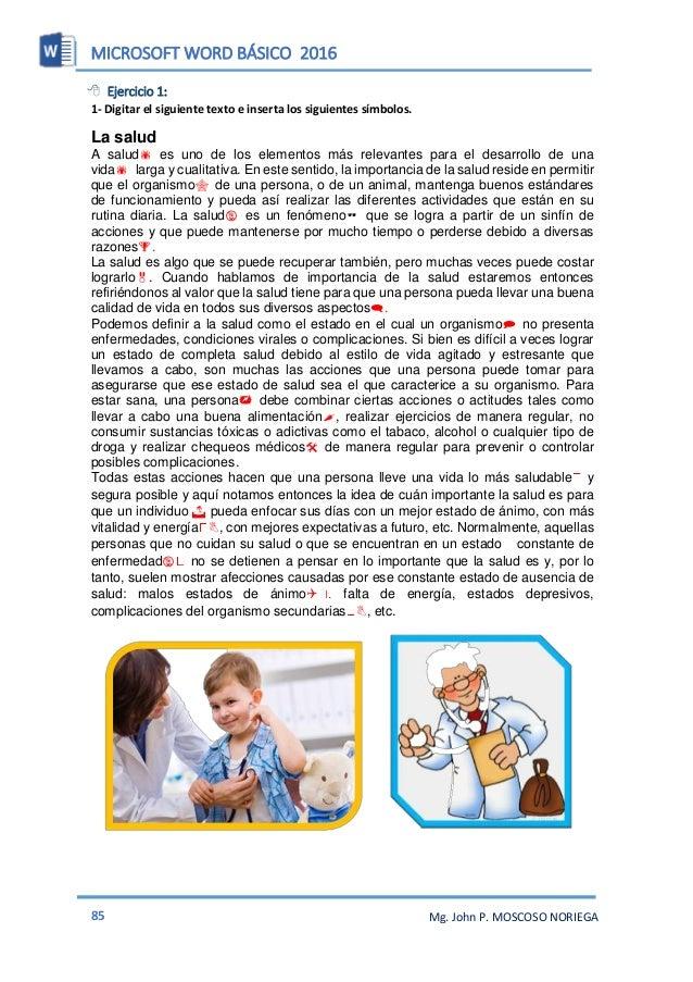 MICROSOFT WORD BÁSICO 2016 87 Mg. John P. MOSCOSO NORIEGA  Ejercicio 3: Beneficios del ejercicio l ejercicio es bueno par...