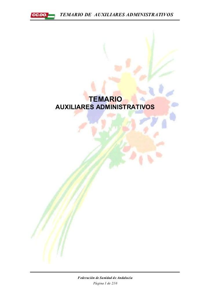 TEMARIO DE AUXILIARES ADMINISTRATIVOS            TEMARIOAUXILIARES ADMINISTRATIVOS      Federación de Sanidad de Andalucía...