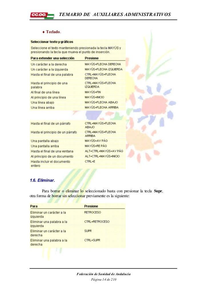 TEMARIO DE AUXILIARES ADMINISTRATIVOS       ♦ Teclado.1.6. Eliminar.        Para borrar o eliminar lo seleccionado basta c...