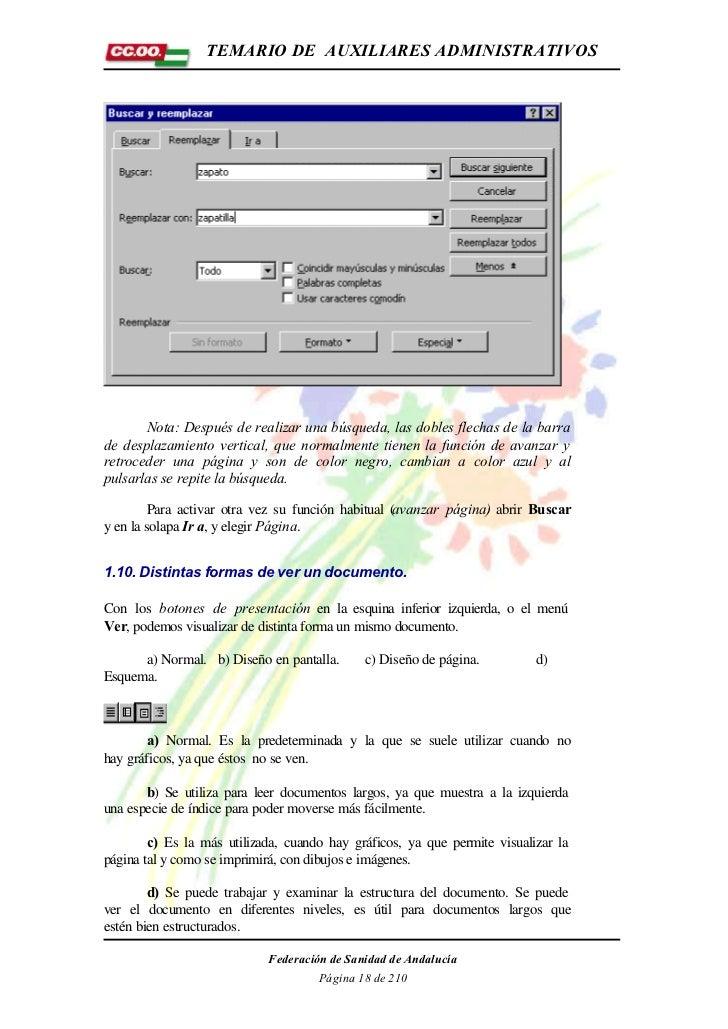 TEMARIO DE AUXILIARES ADMINISTRATIVOS       Nota: Después de realizar una búsqueda, las dobles flechas de la barrade despl...