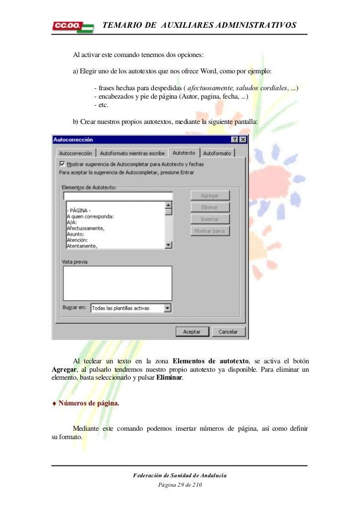 TEMARIO DE AUXILIARES ADMINISTRATIVOS       Al activar este comando tenemos dos opciones:       a) Elegir uno de los autot...