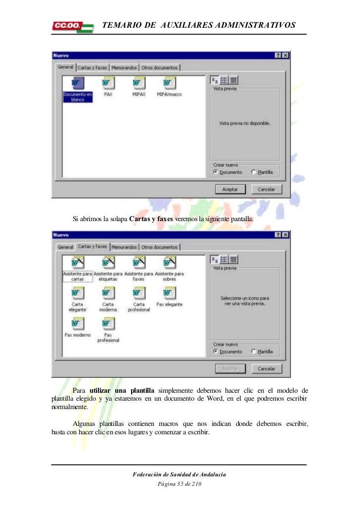 TEMARIO DE AUXILIARES ADMINISTRATIVOS       Si abrimos la solapa Cartas y faxes veremos la siguiente pantalla:         Par...