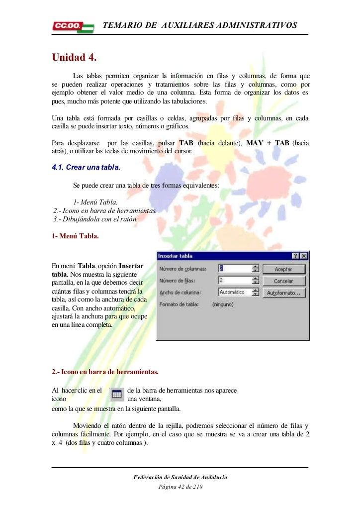 TEMARIO DE AUXILIARES ADMINISTRATIVOSUnidad 4.       Las tablas permiten organizar la información en filas y columnas, de ...