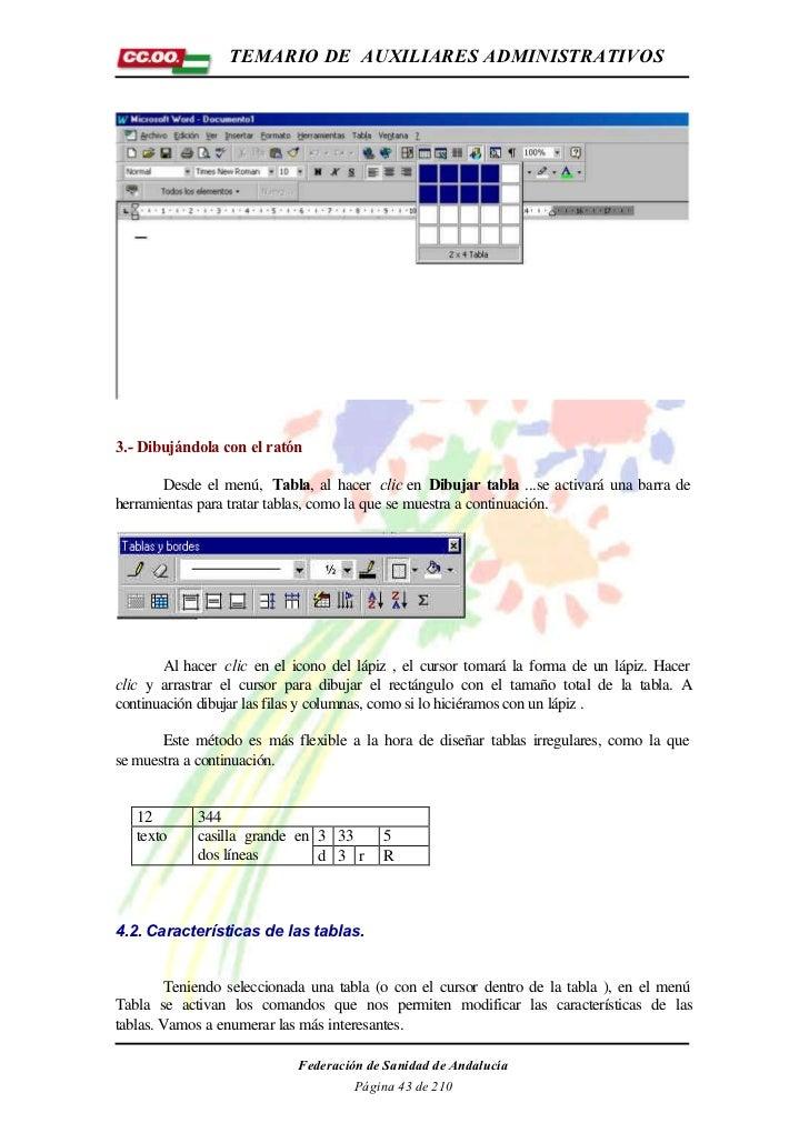 TEMARIO DE AUXILIARES ADMINISTRATIVOS3.- Dibujándola con el ratón       Desde el menú, Tabla, al hacer clic en Dibujar tab...