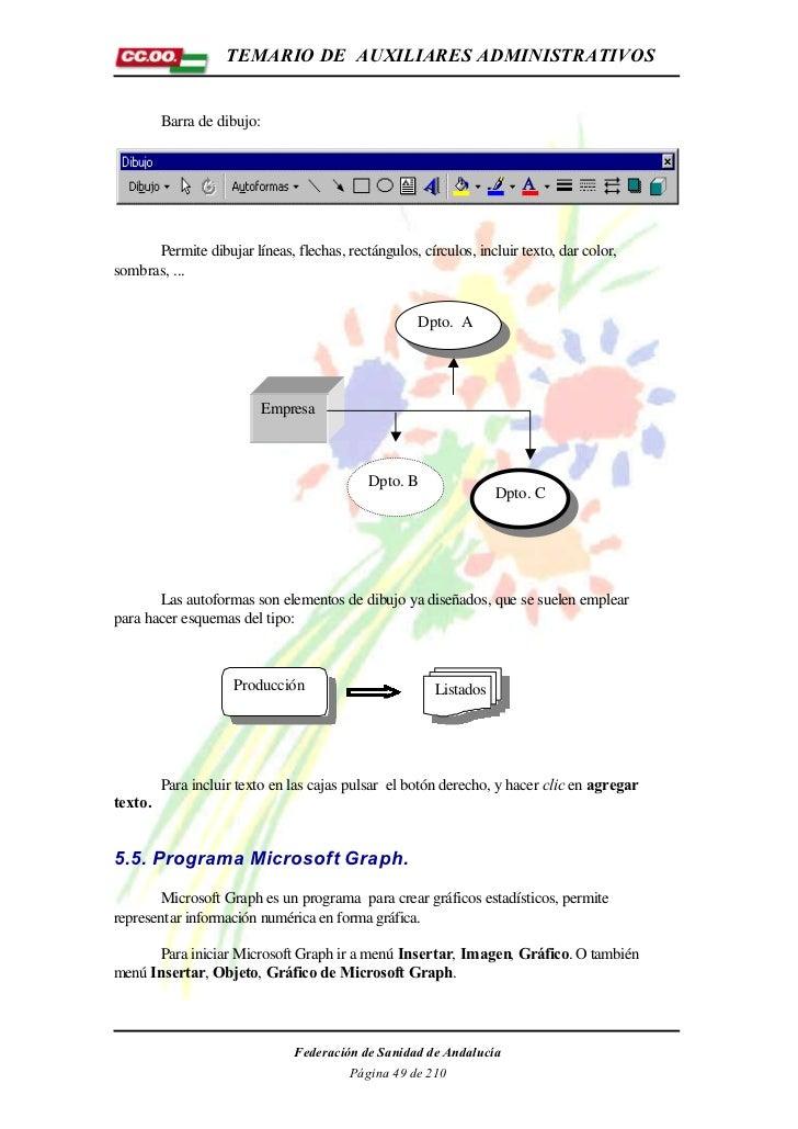 TEMARIO DE AUXILIARES ADMINISTRATIVOS         Barra de dibujo:      Permite dibujar líneas, flechas, rectángulos, círculos...