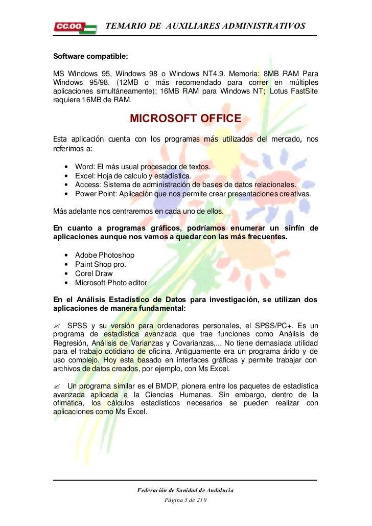 TEMARIO DE AUXILIARES ADMINISTRATIVOSSoftware compatible:MS Windows 95, Windows 98 o Windows NT4.9. Memoria: 8MB RAM ParaW...