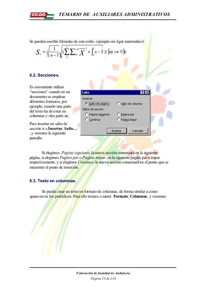TEMARIO DE AUXILIARES ADMINISTRATIVOSSe pueden escribir fórmulas de este estilo. (ejemplo sin rigor matemático)           ...