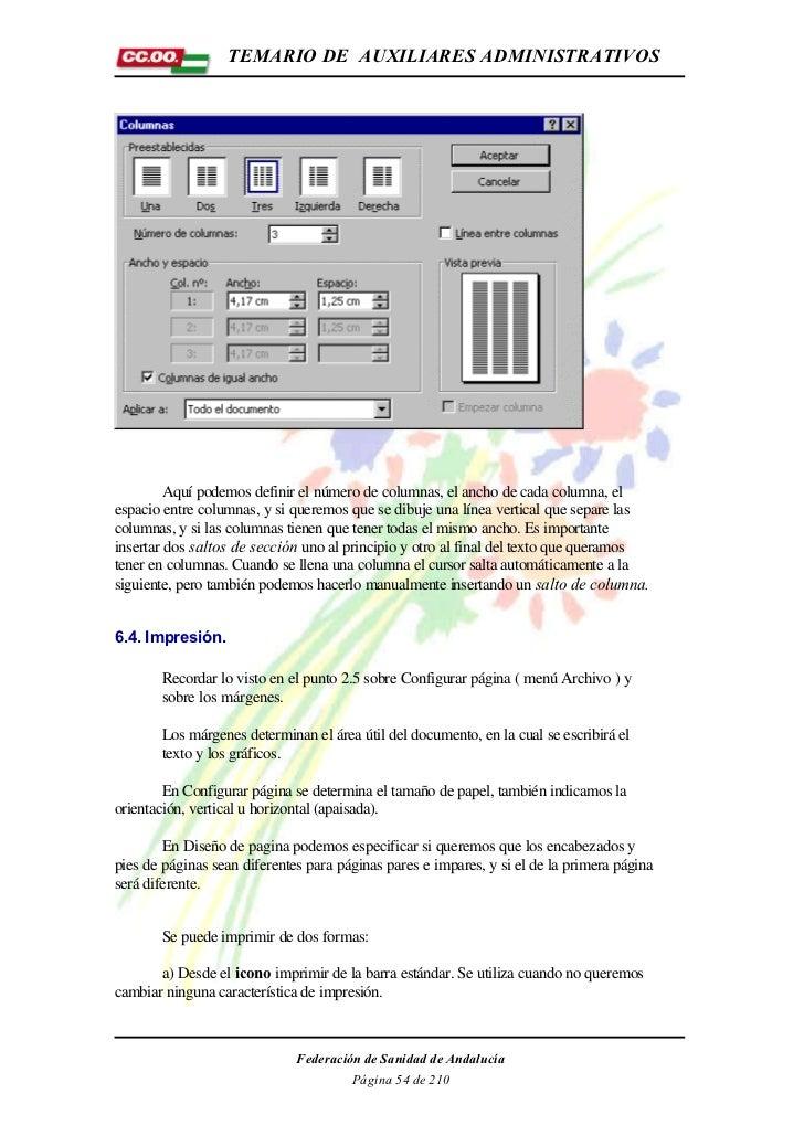 TEMARIO DE AUXILIARES ADMINISTRATIVOS        Aquí podemos definir el número de columnas, el ancho de cada columna, elespac...