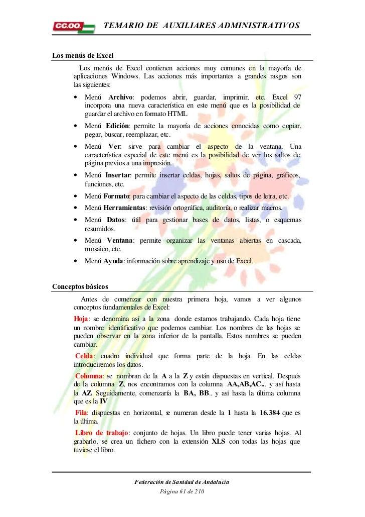 TEMARIO DE AUXILIARES ADMINISTRATIVOSLos menús de Excel        Los menús de Excel contienen acciones muy comunes en la may...