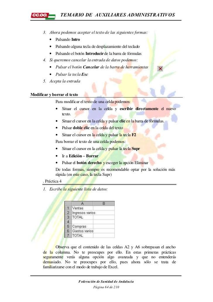TEMARIO DE AUXILIARES ADMINISTRATIVOS       3. Ahora podemos aceptar el texto de las siguientes formas:           • Pulsan...