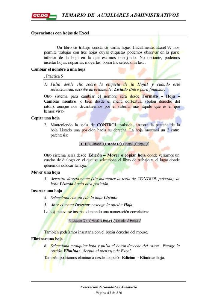 TEMARIO DE AUXILIARES ADMINISTRATIVOSOperaciones con hojas de Excel               Un libro de trabajo consta de varias hoj...