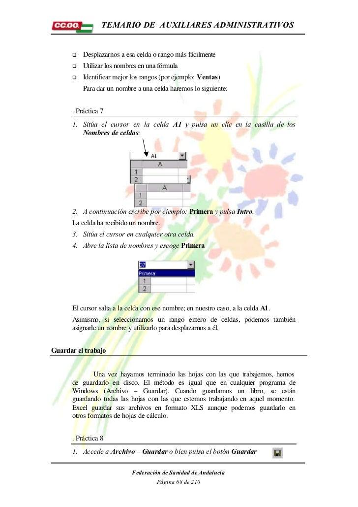 TEMARIO DE AUXILIARES ADMINISTRATIVOS      q   Desplazarnos a esa celda o rango más fácilmente      q   Utilizar los nombr...