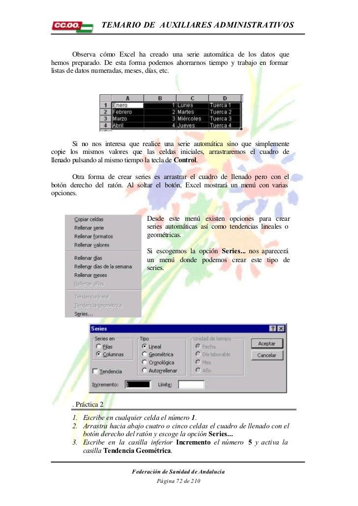 TEMARIO DE AUXILIARES ADMINISTRATIVOS         Observa cómo Excel ha creado una serie automática de los datos quehemos prep...
