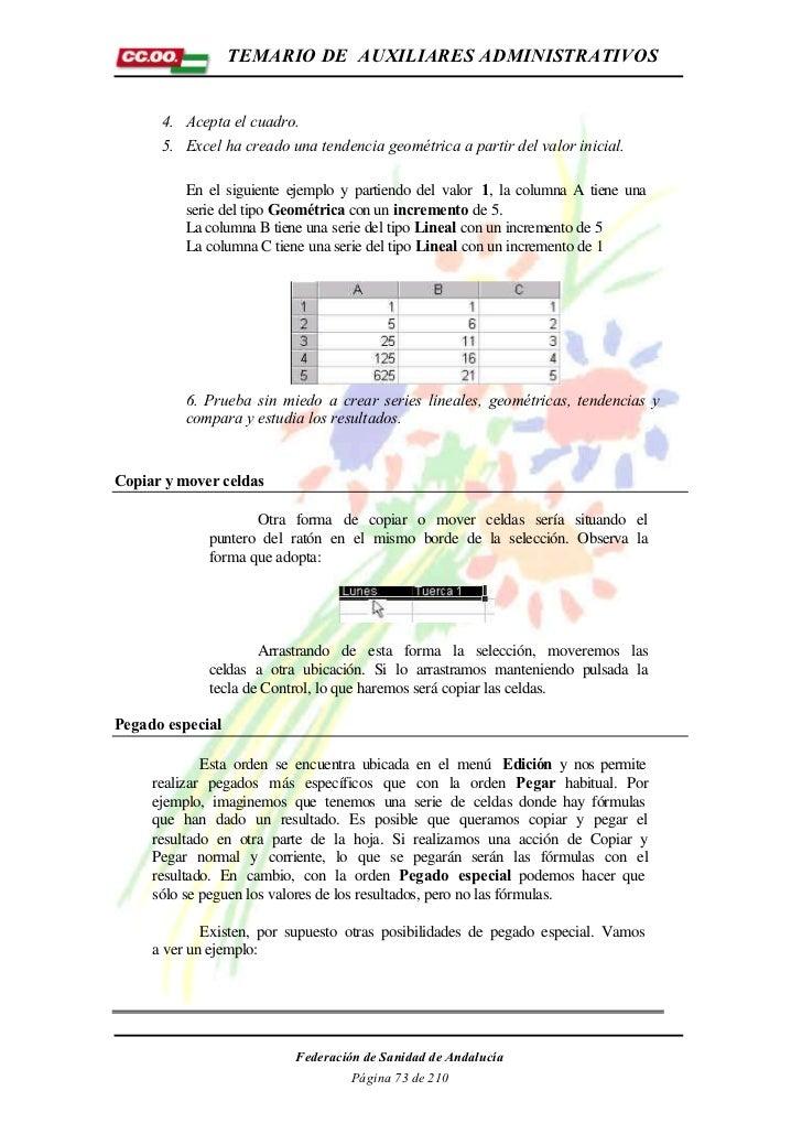 TEMARIO DE AUXILIARES ADMINISTRATIVOS      4. Acepta el cuadro.      5. Excel ha creado una tendencia geométrica a partir ...