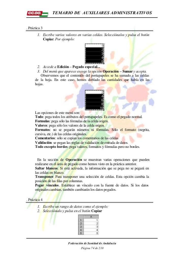 TEMARIO DE AUXILIARES ADMINISTRATIVOS. Práctica 3        1. Escribe varios valores en varias celdas. Selecciónalos y pulsa...