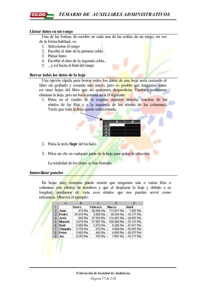 TEMARIO DE AUXILIARES ADMINISTRATIVOSLlenar datos en un rango       Una de las formas de escribir en cada una de las celda...
