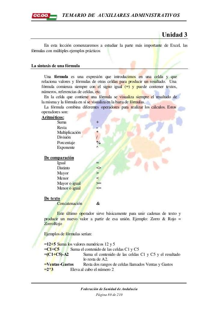 TEMARIO DE AUXILIARES ADMINISTRATIVOS                                                                        Unidad 3     ...