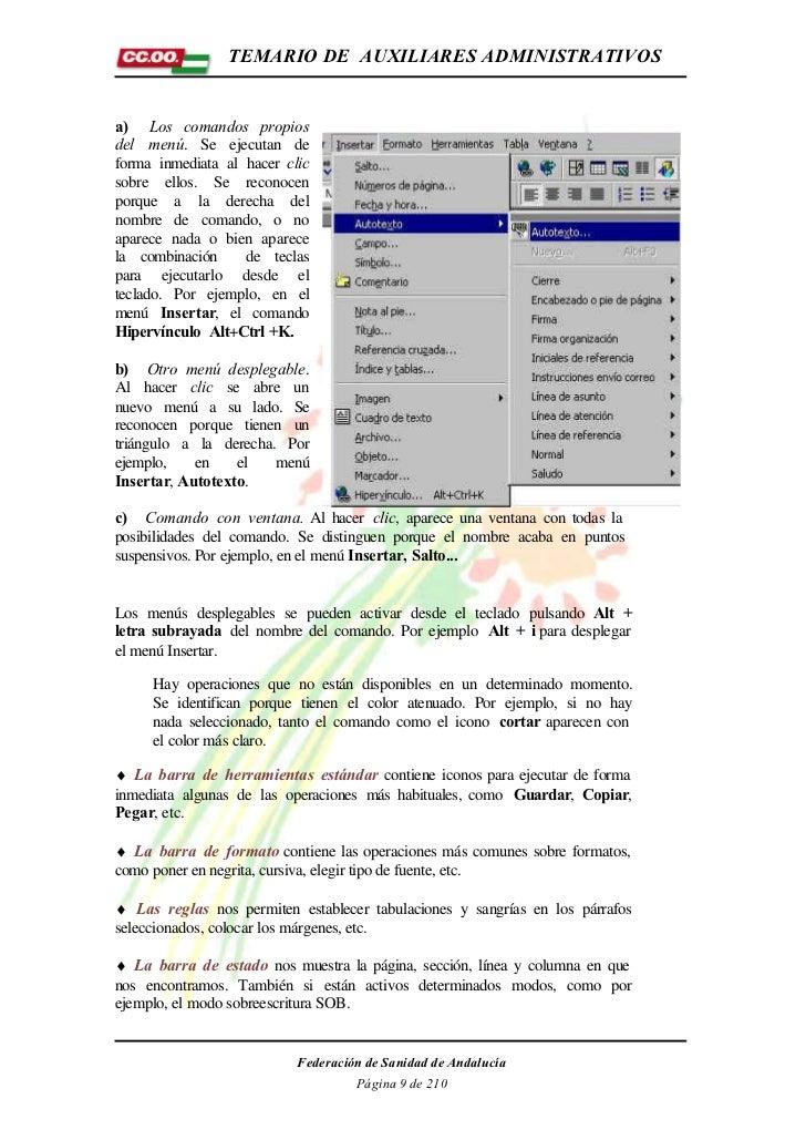 TEMARIO DE AUXILIARES ADMINISTRATIVOSa) Los comandos propiosdel menú. Se ejecutan deforma inmediata al hacer clicsobre ell...