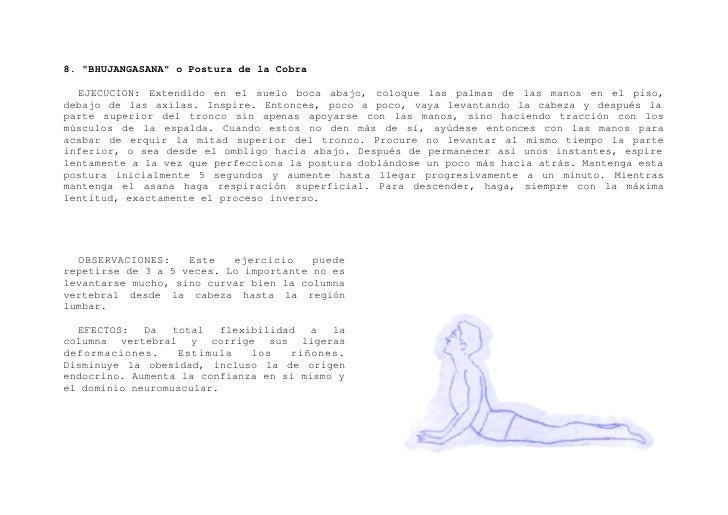 """9. """"SHALABHASANA"""" o Postura del Saltamontes    EJECUCION: Extendido boca abajo, en el suelo. Brazos a lo largo del cuerpo ..."""