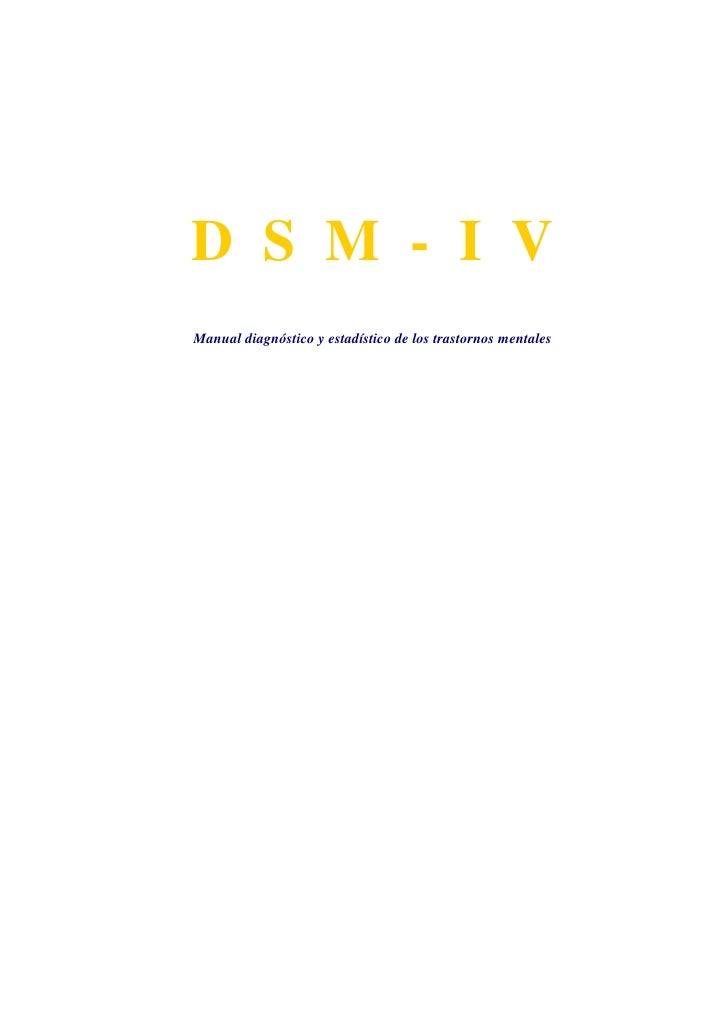 Manual Diagnóstico DSM IV