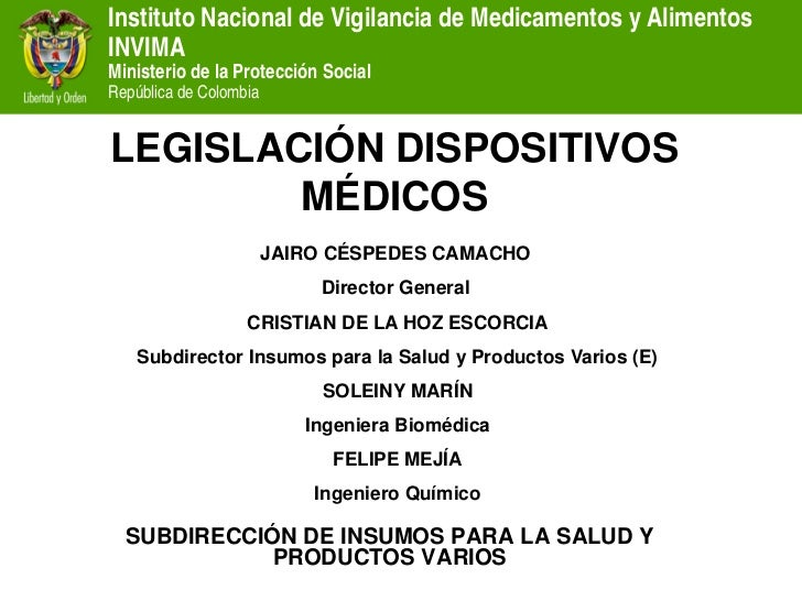 Instituto Nacional de Vigilancia de Medicamentos y Alimentos INVIMA Ministerio de la Protección Social República de Colomb...