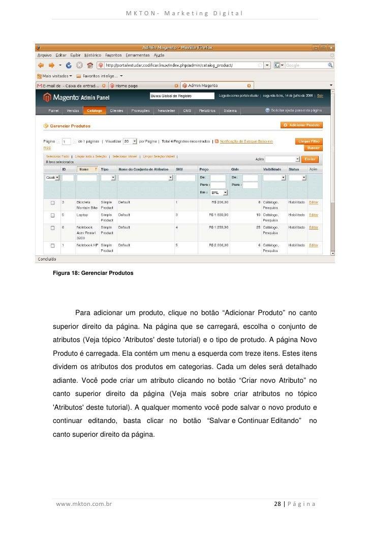 """MKTON- Marketing DigitalFigura 18: Gerenciar Produtos        Para adicionar um produto, clique no botão """"Adicionar Produto..."""