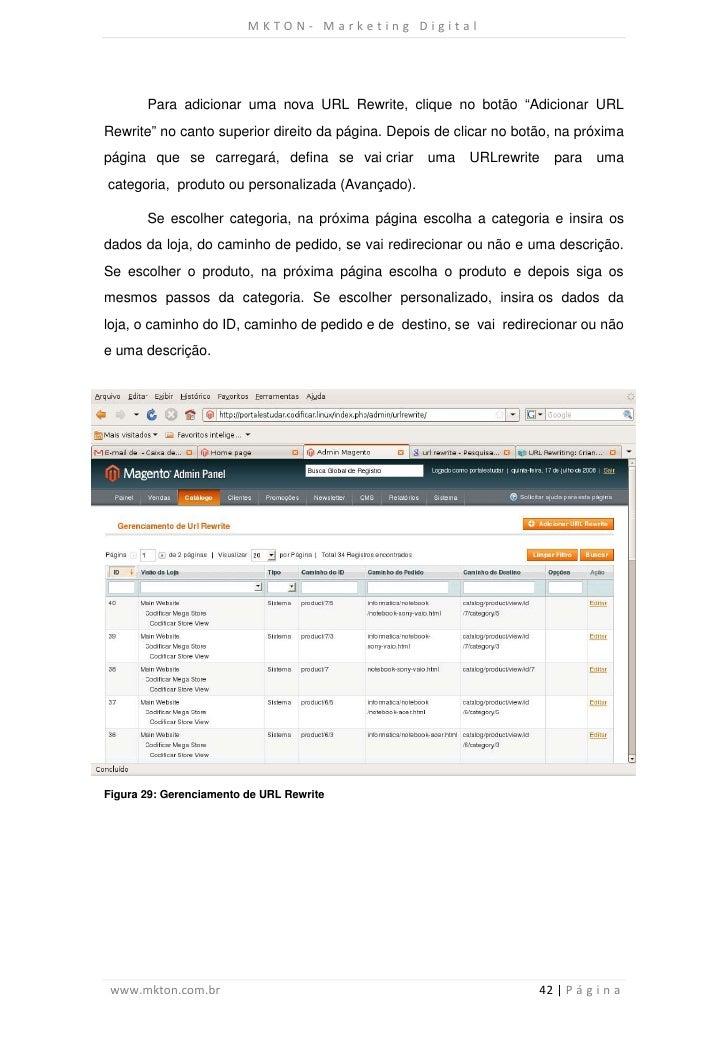"""MKTON- Marketing Digital       Para adicionar uma nova URL Rewrite, clique no botão """"Adicionar URLRewrite"""" no canto superi..."""