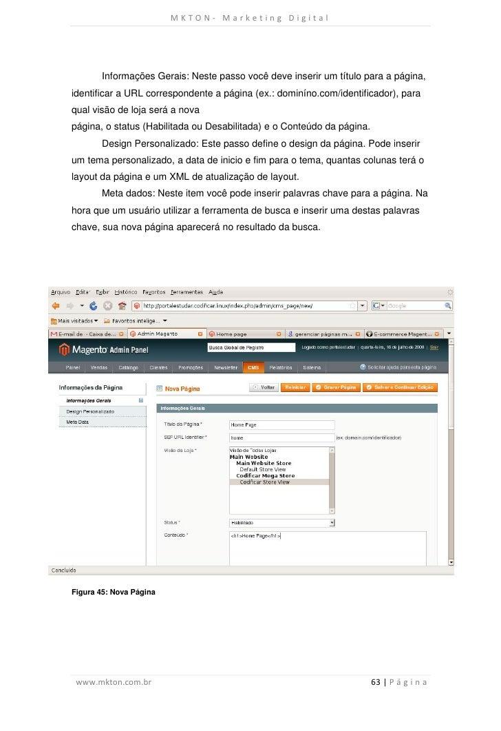 MKTON- Marketing Digital       Informações Gerais: Neste passo você deve inserir um título para a página,identificar a URL...